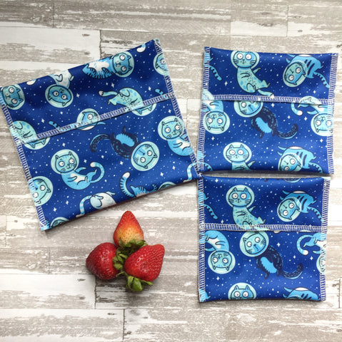 Reusable Snack Bags, Space Cats Snack Set