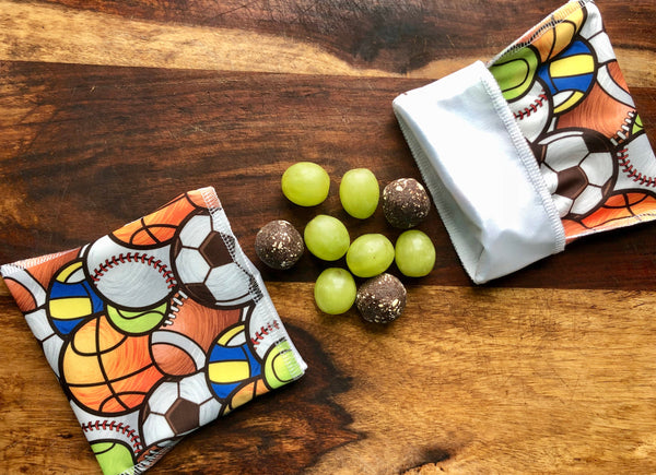 Reusable Snack Set, Sports and Ball Snack Bags