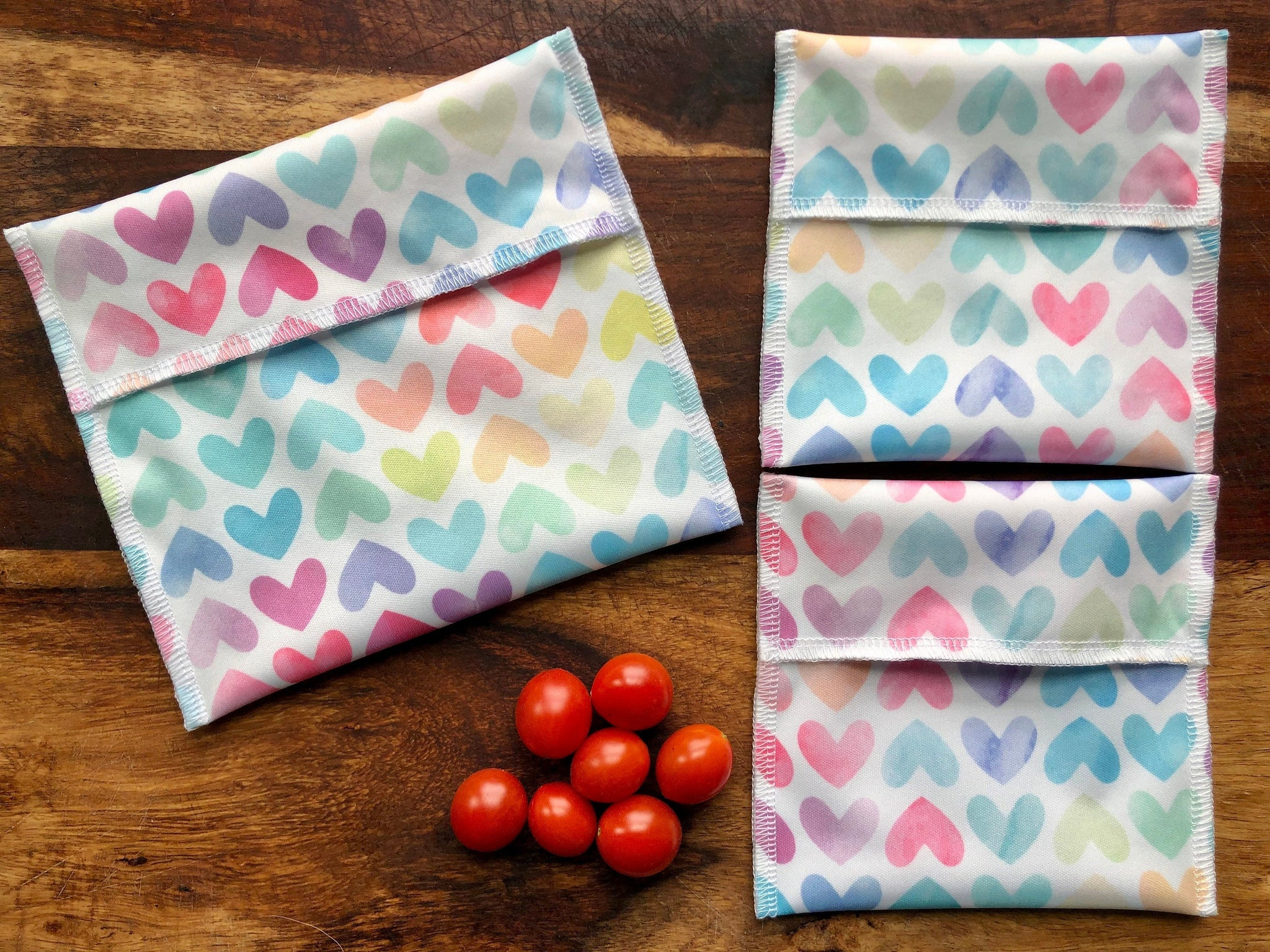 Reusable Snack Set, Rainbow Hearts