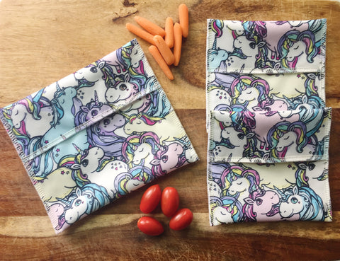 Unicorn Snack Bag Set, 1 Sandwich and 2 Snack Bags