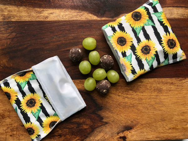 Sunflower Snack Bags, Reusable Snack Bags