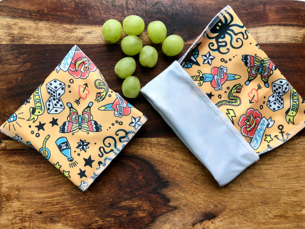 Reusable Snack Set, Tattoo Snack Bags