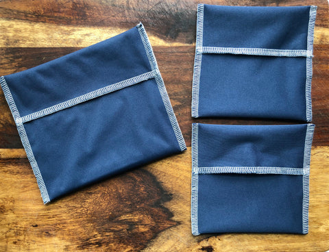 Navy Snack Bag Set, Reusable Snack Bags