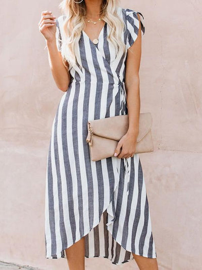 V-Neck Striped Flying Sleeve Maxi Dress