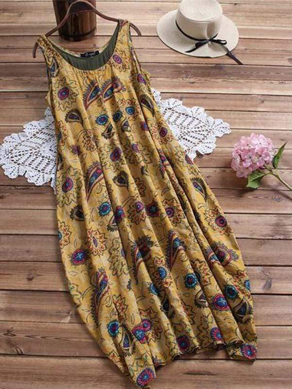 wiccous.com Plus Size Dress Yellow / L Plus size sleeveless printed pocket dress