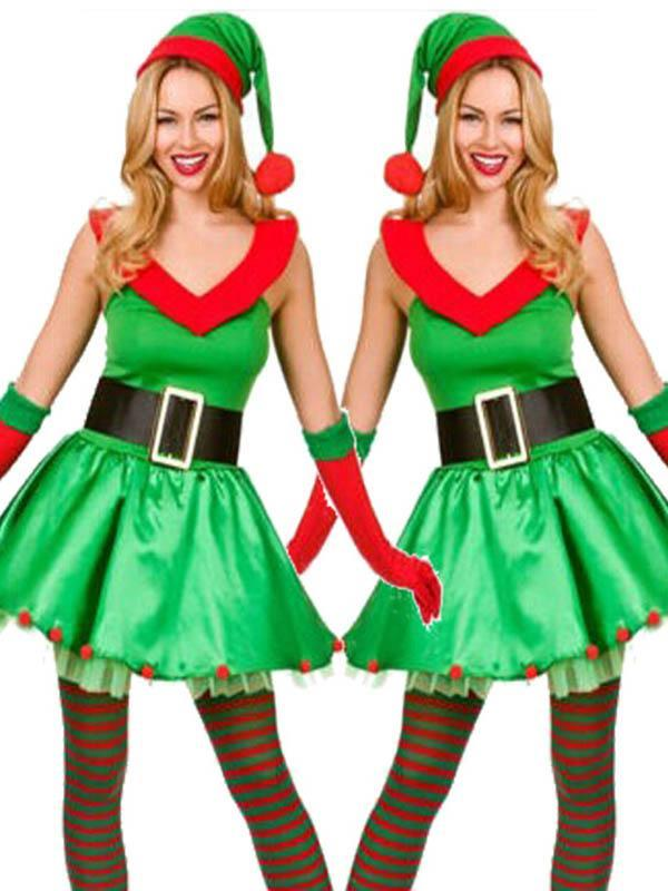 Ladies Green Christmas Ball Party Dress