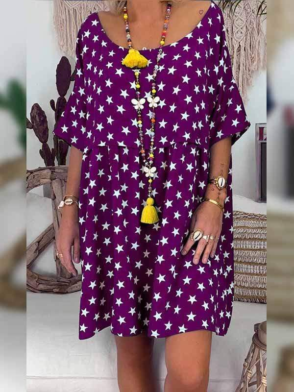 wiccous.com Plus Size Dress Purple / L Plus size star print dress