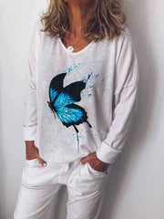 wiccous.com Plus Size Tops Plus Size Butterfly Print Long Sleeve T-Shirt