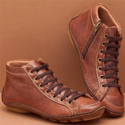 Women Casual Comfy Flat Heel Zipper Faux Leather Ankle Boots