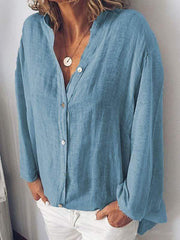 wiccous.com Plus Size Tops Blue / L Plus Size Solid Color Button Collar Shirt