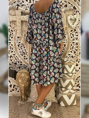 wiccous.com Plus Size Dress Dark blue / L Plus size skull print dress