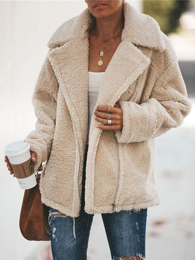 Large Lapel Zipper Woolen Cardigan Coat