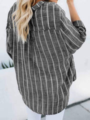 wiccous.com Plus Size Tops Black / L Plus size striped cotton and linen irregular shirt