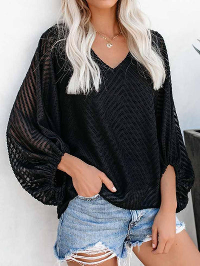 V-neck Lantern Sleeve Blouse