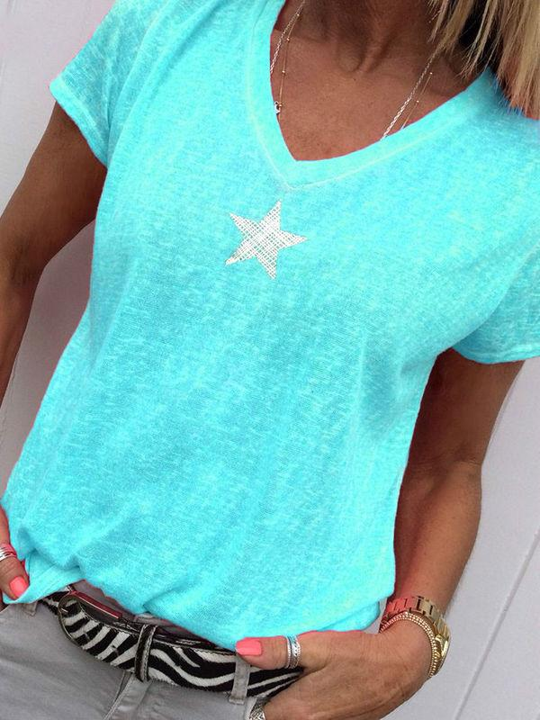 Neon Star V-neck T-Shirts