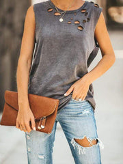 wiccous.com Tanks Grey / S Cut It Out Cotton Distressed Tank
