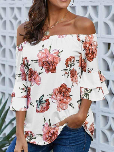 One-Shoulder Collar Cropped Sleeve Print Blouse