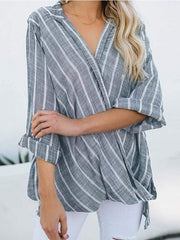 wiccous.com Plus Size Tops Grey / L Plus size striped cotton and linen irregular shirt
