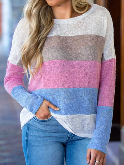 Long Sleeve Colorblock Knot Top