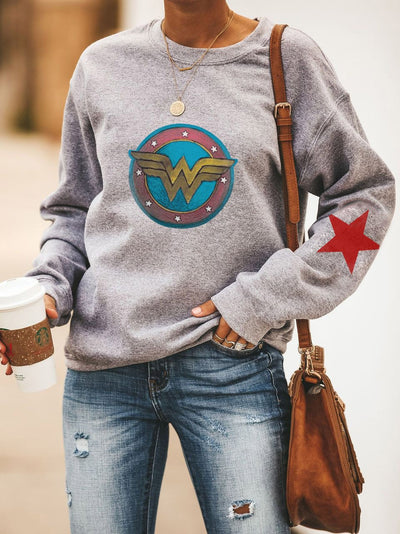Wonder Woman Round Collar Long Sleeve Sweatshirt