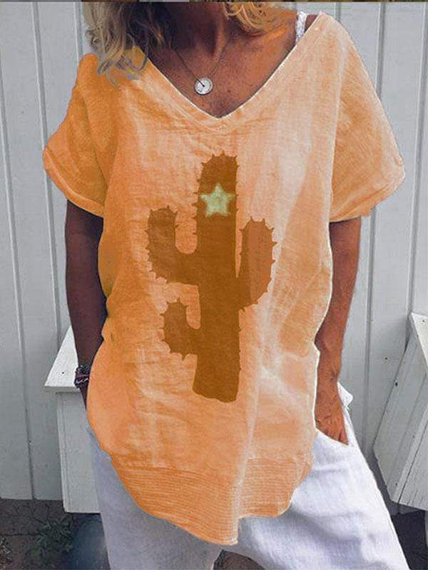 wiccous.com Plus Size Tops Orange / S Plus size cactus print t-shirt