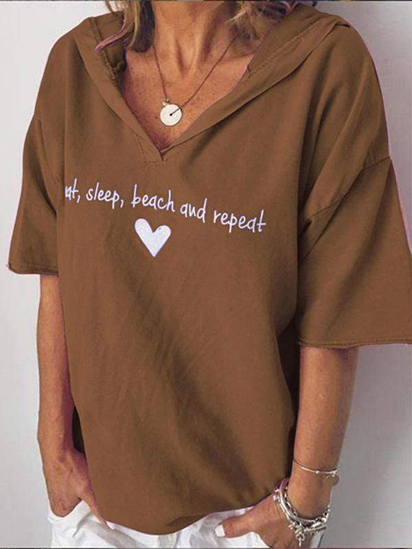 wiccous.com Plus Size Tops Coffee / S Plus size letter printed hooded T-shirt