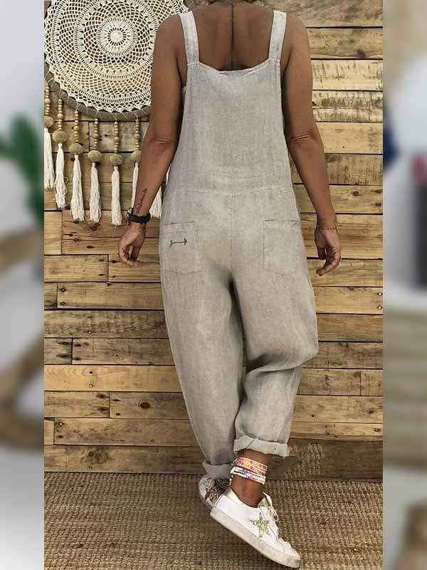wiccous.com Plus Size Bottoms Dust-Color / L Plus size linen cotton one-piece overalls