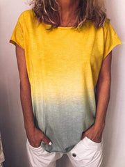 wiccous.com T-shirts Yellow / L Gradient Rainbow Short Sleeve T-shirts