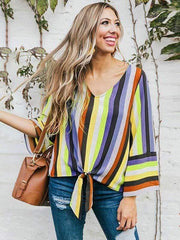 wiccous.com Plus Size Tops Yellow / L Plus size rainbow printed striped shirt