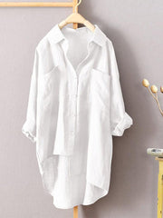 Pure Color Cotton Linen Double Pocket Shirt