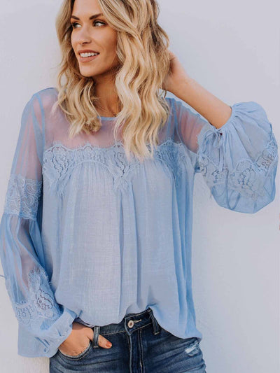 Lace-Paneled Perspective Blouse