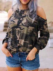 Off-The-Shoulder Camouflage Long-Sleeved T-Shirt
