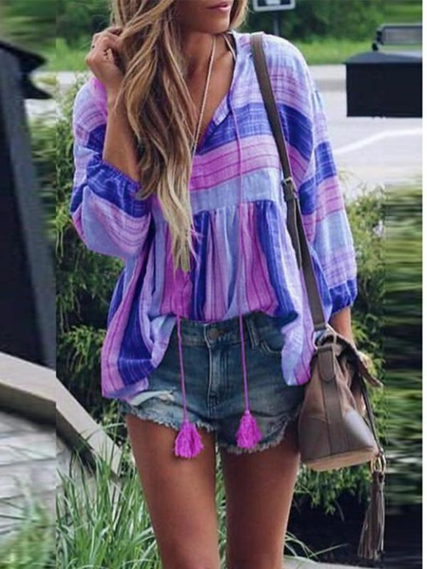 Plus size V-neck trumpet sleeve printed tassel tops