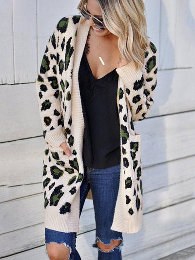 Long Sleeve Leopard Sweater Cardigan