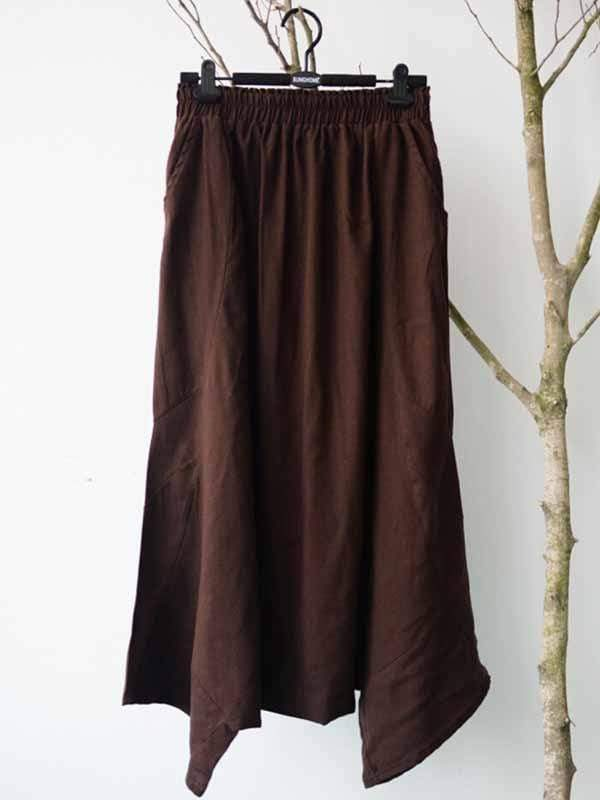 wiccous.com Plus Size Bottoms Coffee / L Plus Size Vintage Cotton Linen Low-Cut Casual Pants