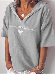 wiccous.com Plus Size Tops Grey / S Plus size letter printed hooded T-shirt