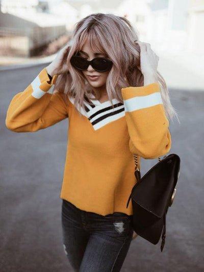 Long Sleeve Yellow Varsity Top