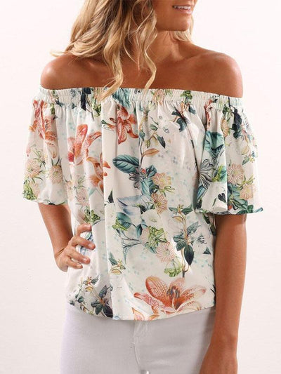 Printed Trumpet Sleeves With Cold Shoulder Top