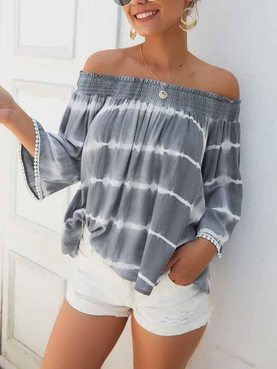 One-Shoulder Tie-Dye Loose Blouse
