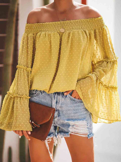 One-Neck Trumpet Sleeve Blouse