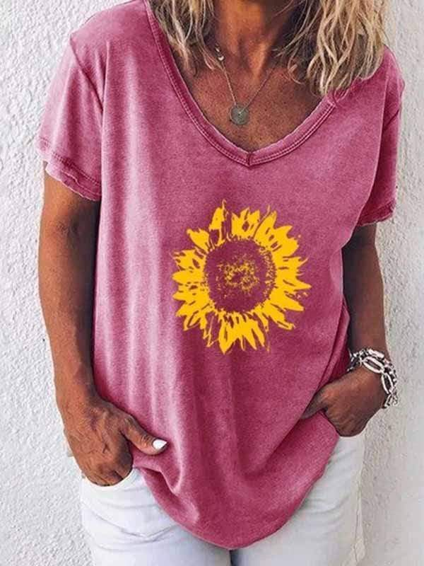 wiccous.com Plus Size Tops Pink / S Sunflower print t-shirt