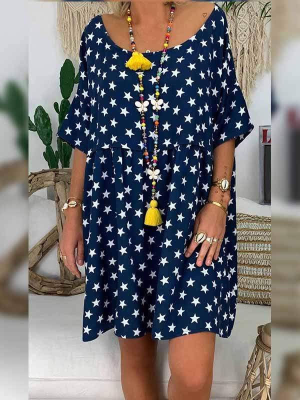 wiccous.com Plus Size Dress Blue / L Plus size star print dress