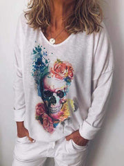 wiccous.com Plus Size Tops White / S Skull Print Long Sleeve Top