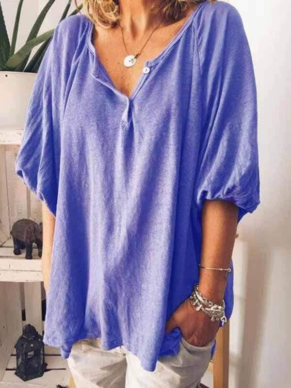 wiccous.com Plus Size Tops,T-Shirts Blue / S Women's V-neck 5-point sleeve T-shirt