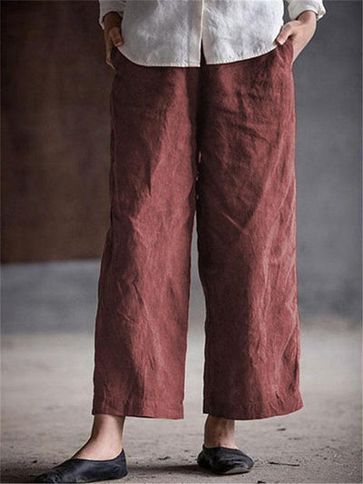 Solid Color Cotton Linen Straight Trousers