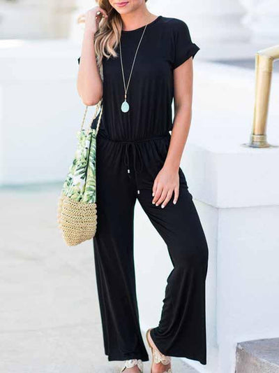 Round Neck Drop Shoulder Jumpsuit
