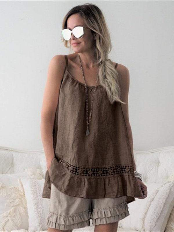 wiccous.com Plus Size Tops Brown / L Plus size ruffled camisole