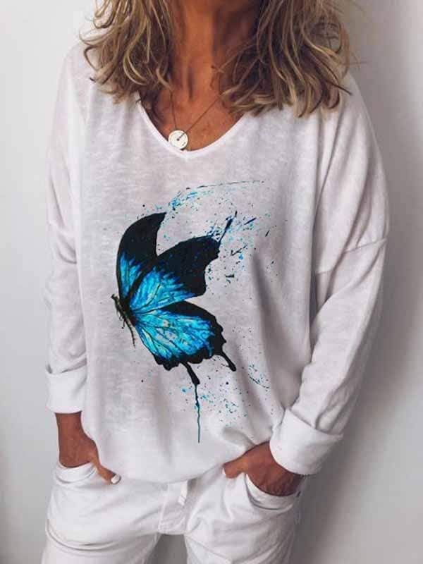 wiccous.com Plus Size Tops White / L Plus Size Butterfly Print Long Sleeve T-Shirt