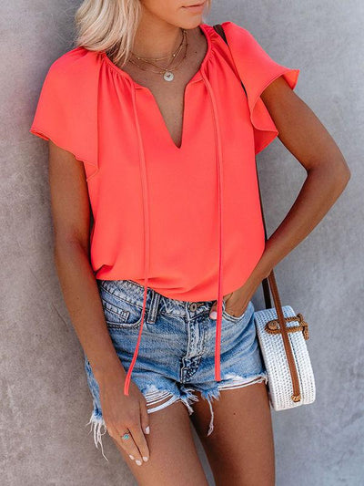 Split Neckline With Tie Ruffle T-shirts