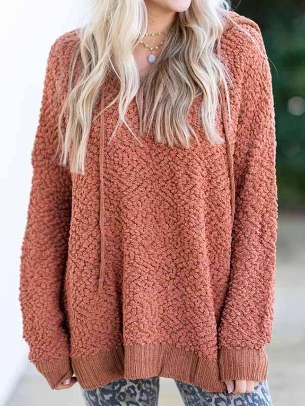 Hooded Loose Pure Color Sweater